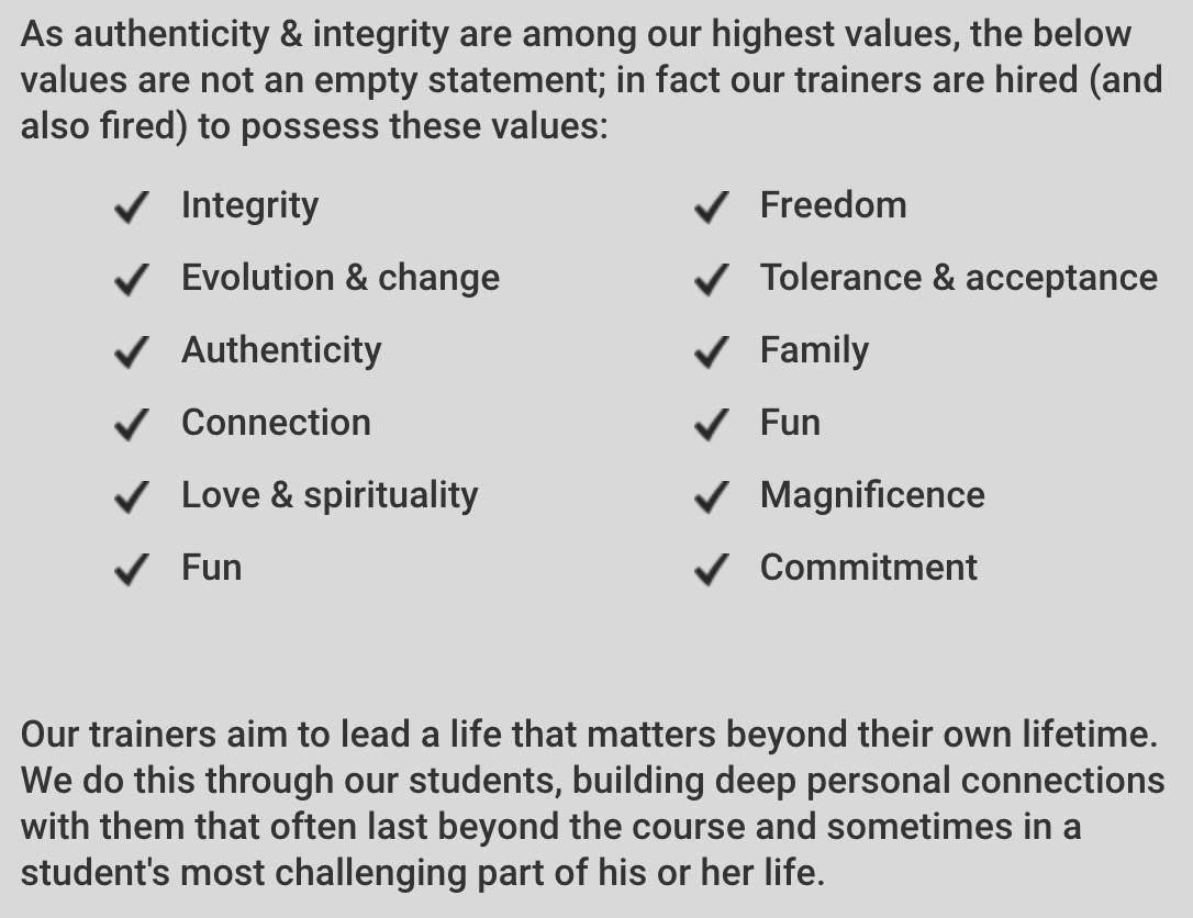 About Our Classes - Our Values